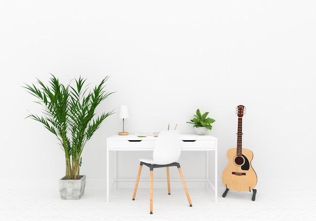Espaço de trabalho em casa escandinavo com parede em branco