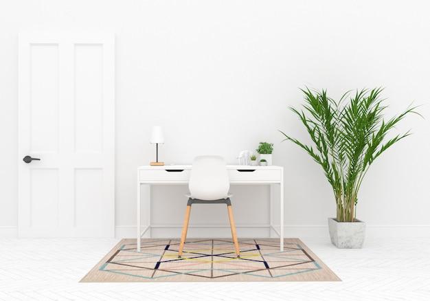 Espaço de trabalho escandinavo com maquete de parede em branco