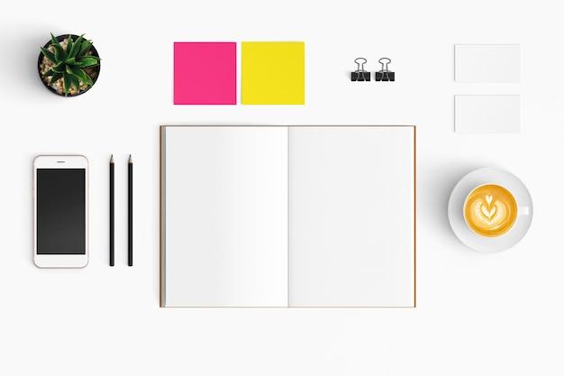 Espaço de trabalho moderno, com espaço de cópia no fundo de cor branca