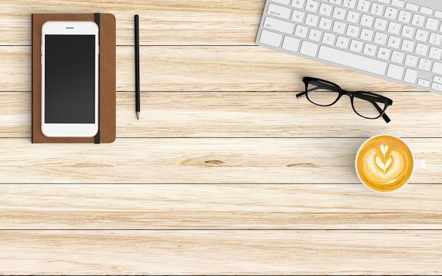 Espaço de trabalho moderno com xícara de café, papel, caderno, tablet ou smartphone e teclado em madeira