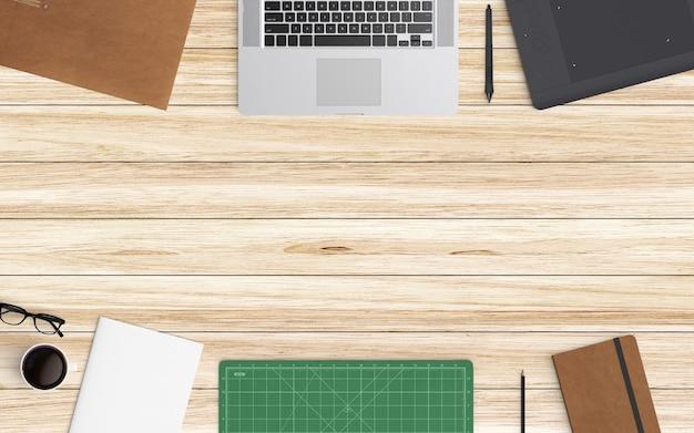 Espaço de trabalho moderno. vista do topo. estilo leigo plano.
