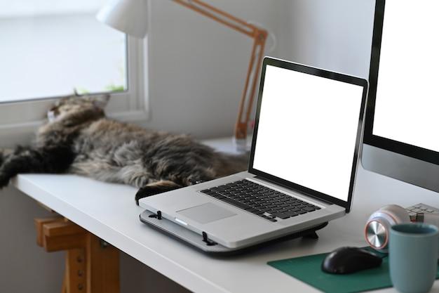 Espaço de trabalho simples com laptop de computador de tela em branco e gato na mesa branca.
