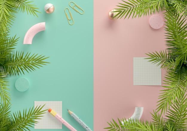 Espaço em branco de vista superior para texto com quadro de folhas tropicais, nota, lápis e objetos em fundo pastel ilustração 3d render.
