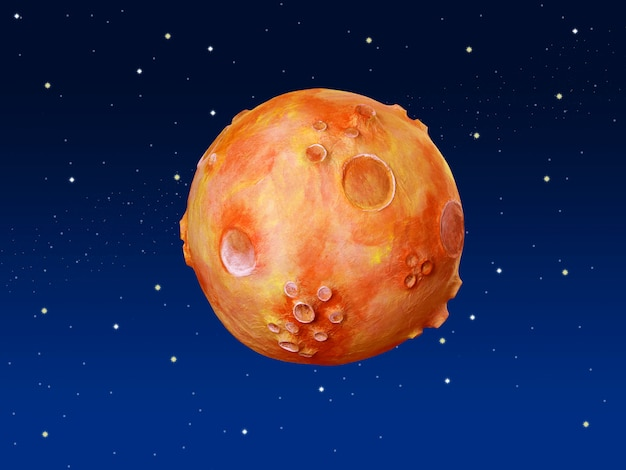 Espaço fantasia planeta laranja azul céu