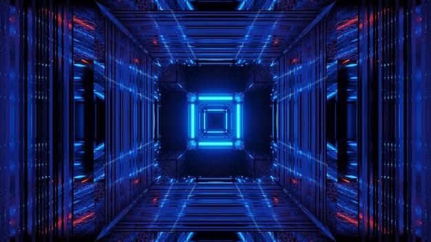 Espaço futurista de ficção científica abstrata com luzes de néon azuis