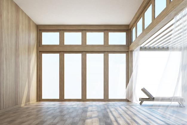 Espaço interior de estilo natural e terraço com renderização em 3d céu
