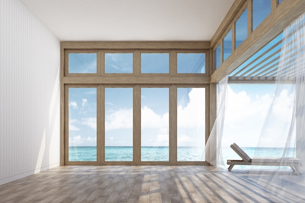 Espaço interior de estilo natural e terraço com vista para o mar renderização em 3d
