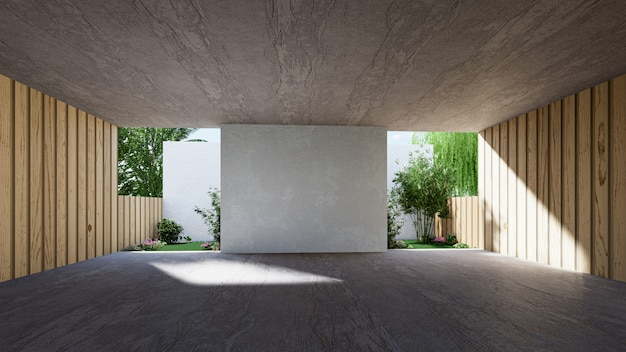 Espaço interno para eventos, salão vazio de grande material de concreto moderno. renderização 3d