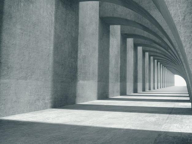 Espaço longo corredor de concreto.