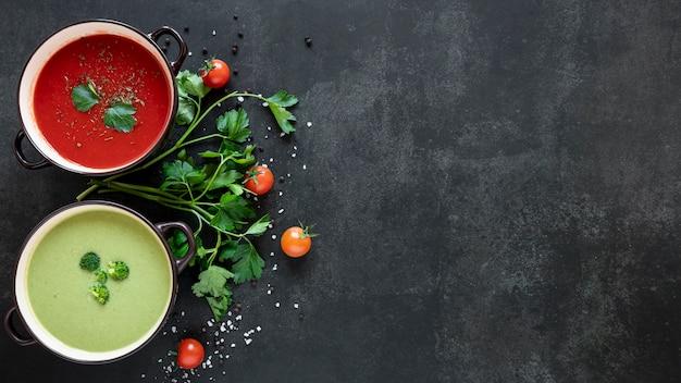 Espaço minimalista saudável cópia comida vegetariana
