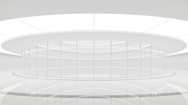 Espaço moderno interior imagem de renderização em 3d a sala branca no edifício circular tem paredes de vidro