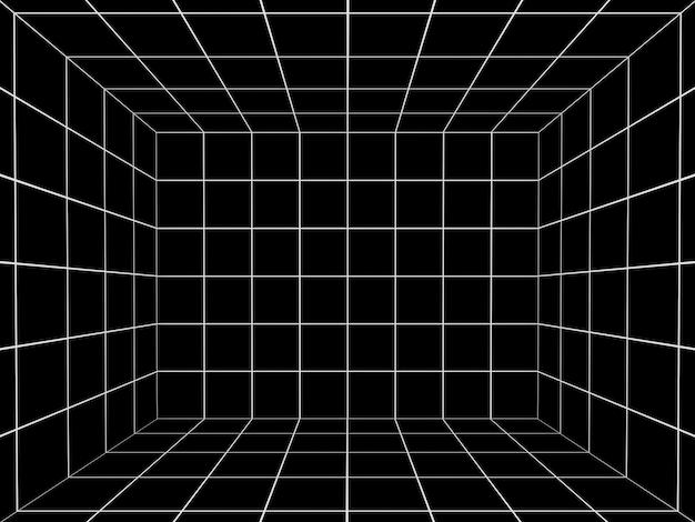 Espaço negro com grade de perspectiva 3d