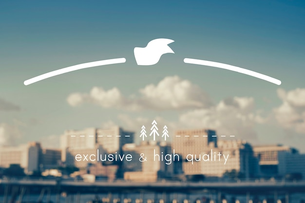 Espaço para cópia do banner do emblema da marca de alta qualidade