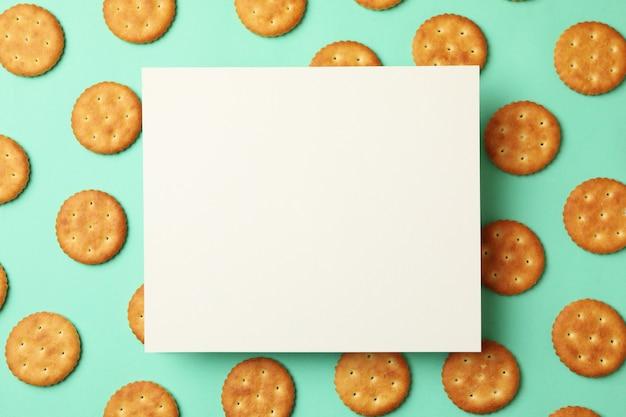 Espaço para texto com biscoitos cracker