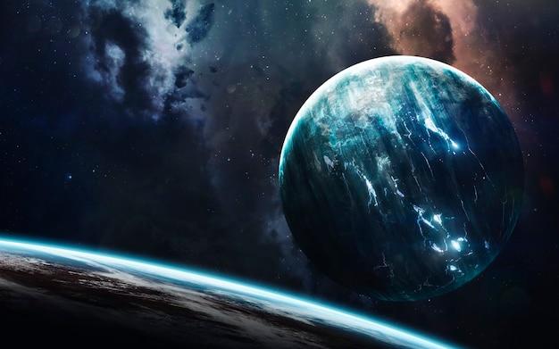 Espaço profundo escuro com planetas gigantes no espaço