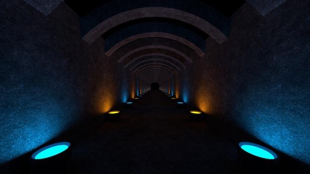 Espaço vazio com paredes de concreto e lâmpadas nas paredes espalhando luz difusa suave