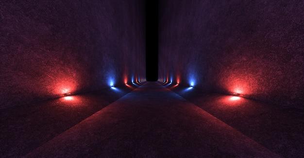 Espaço vazio, com paredes de concreto e lâmpadas nas paredes, espalhando luz vermelha e azul difusa e suave para cima e para baixo.