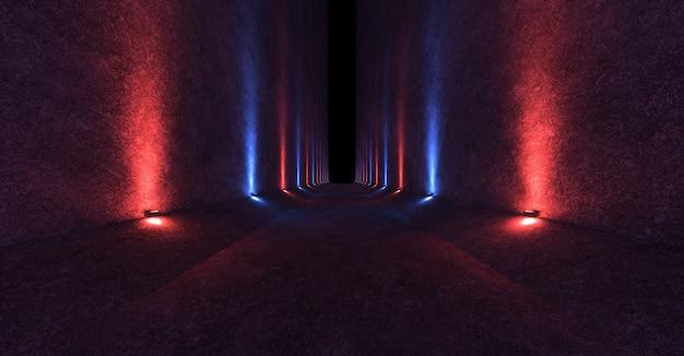 Espaço vazio com paredes de concreto e luminárias nas paredes espalhando luz vermelha e azul direcionada para cima e para baixo