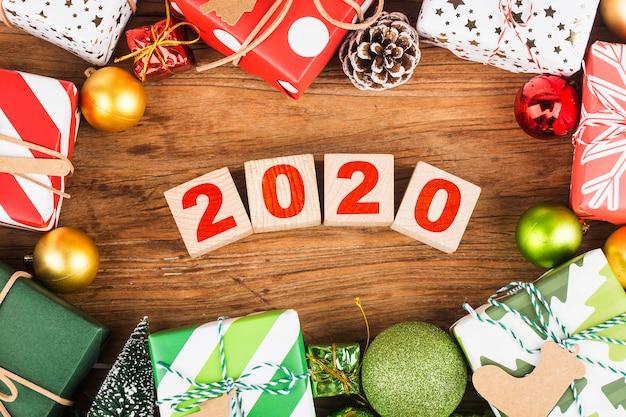 Espaço vazio cópia para inscrição. ideia de feliz ano novo de 2020 férias. feliz natal