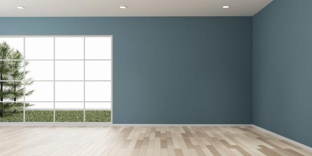 Espaço vazio da cópia do projeto da sala com a renderização 3d do piso de madeira