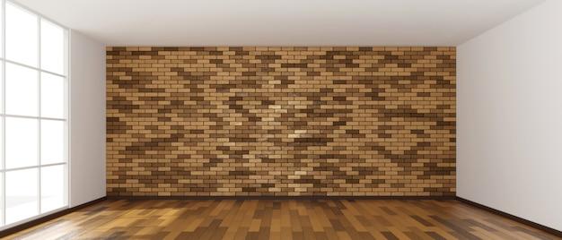 Espaço vazio da cópia do projeto da sala com o piso de madeira e a renderização em 3d da parede de tijolos