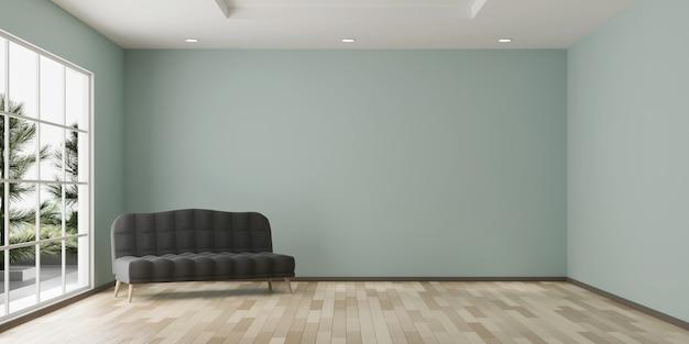 Espaço vazio de cópia de design de quarto com sofá e piso de madeira renderização em 3d