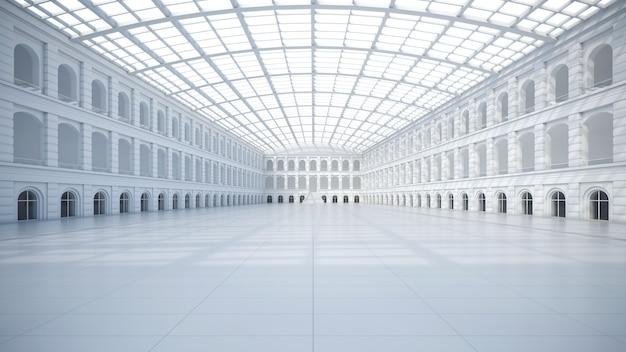 Espaço vazio de exposição. fórum de negócios. pano de fundo para exposições e eventos. piso de cerâmica. simulação de marketing. ilustração 3d render