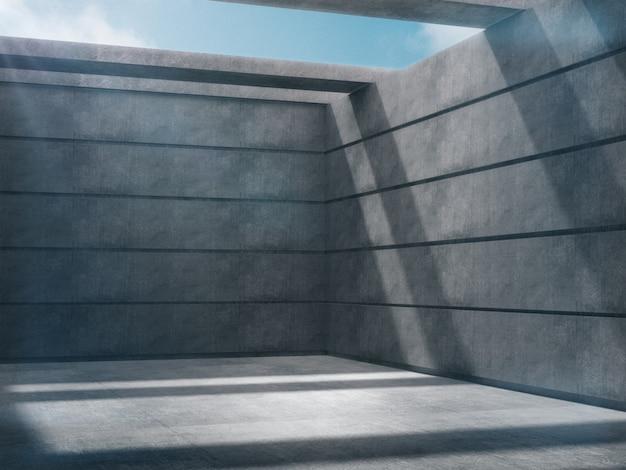 Espaço vazio na sala de concreto com luzes laterais da natureza