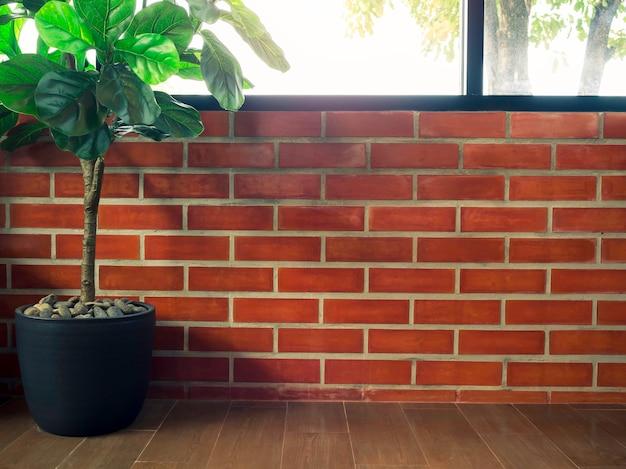 Espaço vazio no fundo da parede de tijolo com folhas verdes em vaso de cerâmica preta no piso em parquet no canto da sala com janela de vidro e luz solar do lado de fora.