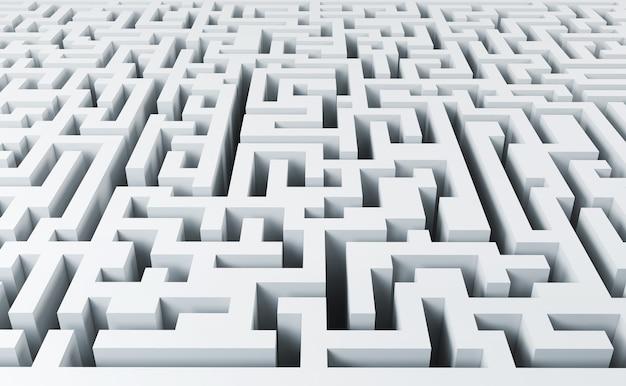 Espaço vazio no labirinto branco sem fim