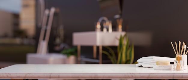 Espaço vazio para exibição de maquete de montagem de produto de spa ou chuveiro em mesa de mármore com acessórios de banho sobre fundo de banheiro de luxo moderno, renderização em 3d, ilustração em 3d