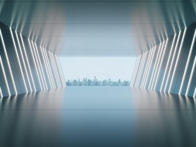 Espaço vazio para exposição de produtos em uma sala futurista com o fundo da cidade.