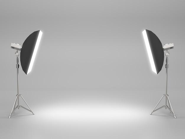 Espaço vazio para o show de produtos com caixa de luz na sala de estúdio.