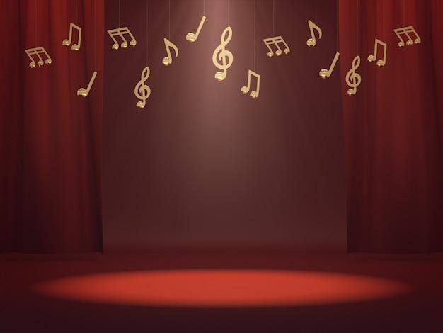 Espaço vazio para show de produtos no palco vermelho com notas musicais douradas. renderização 3d.