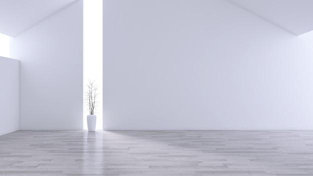 Espaçosa sala de estar moderna e minimalista, interior em preto e branco