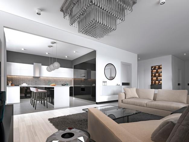 Espaçoso apartamento estúdio interior com parede branca em estilo escandinavo, sala de jantar e cozinha. renderização 3d