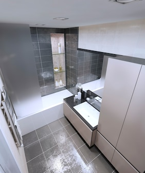 Espaçoso banheiro de estilo high-tech
