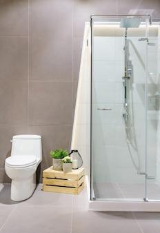 Espaçoso e moderno banheiro interior com paredes brancas