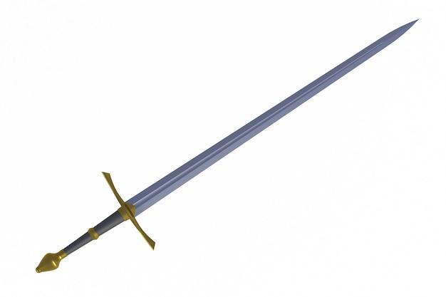 Espada exibida por diagonal, isolado no fundo branco, renderização em 3d