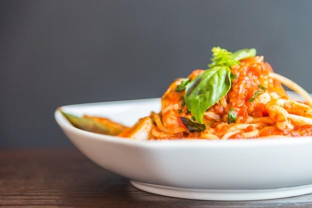 Espaguete, marisco