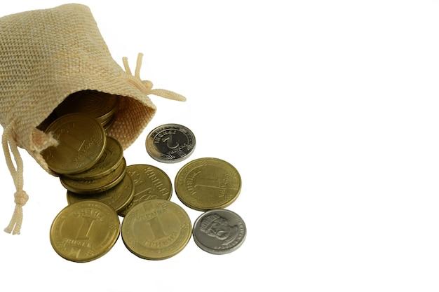 Espalhadas do saco, algumas moedas de prata e de ferro amarelo em um fundo branco