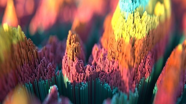 Espalhe a paisagem topográfica com base em cubos coloridos. fundo abstrato com profundidade de campo nas cores vermelho, turquesa, laranja e amarelo. ilustração de renderização 3d.