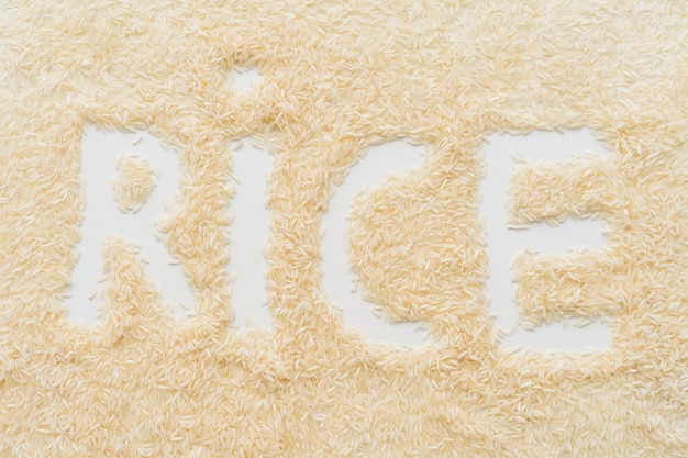 Espalhe o arroz com arroz palavra texto sobre o pano de fundo branco