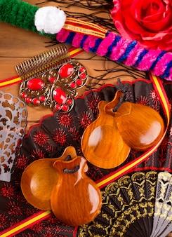Espana típico da espanha com elementos de castanholas flamenco