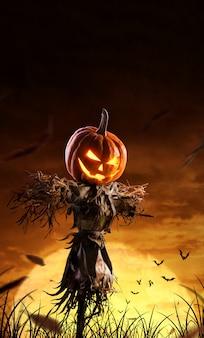 Espantalho de abóbora de halloween em um amplo campo com a lua em uma noite assustadora