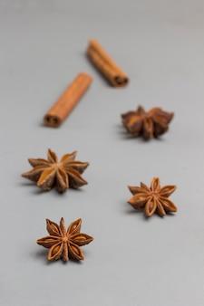 Especiarias com paus de canela, anis estrelado em fundo claro