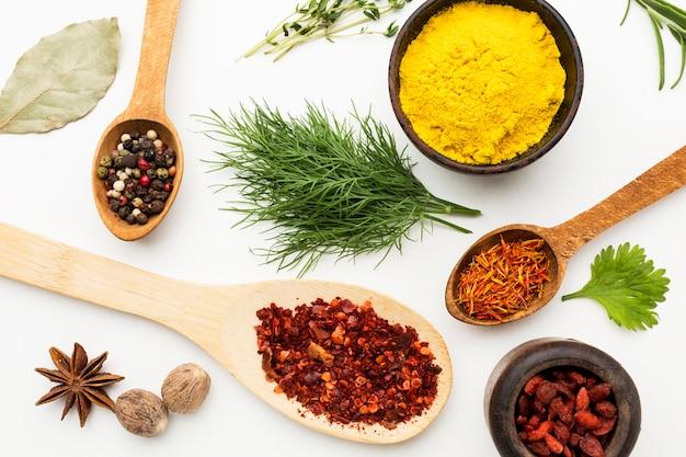 Especiarias e ingredientes planos leigos