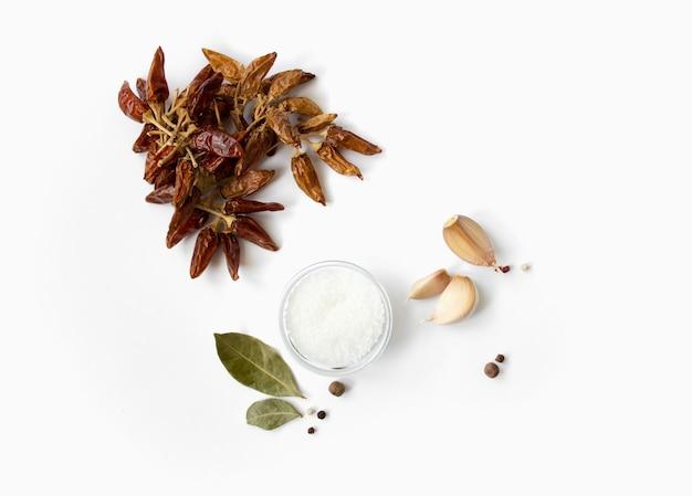 Especiarias isoladas alho, sal, folhas de louro e variedade de especiarias de pimenta vermelha quente
