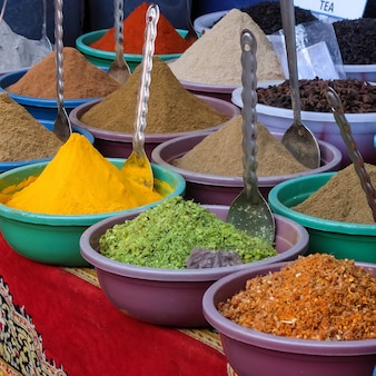 Especiarias no mercado arambol goa india