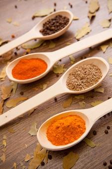 Especiarias pimenta curry pimenta cominho